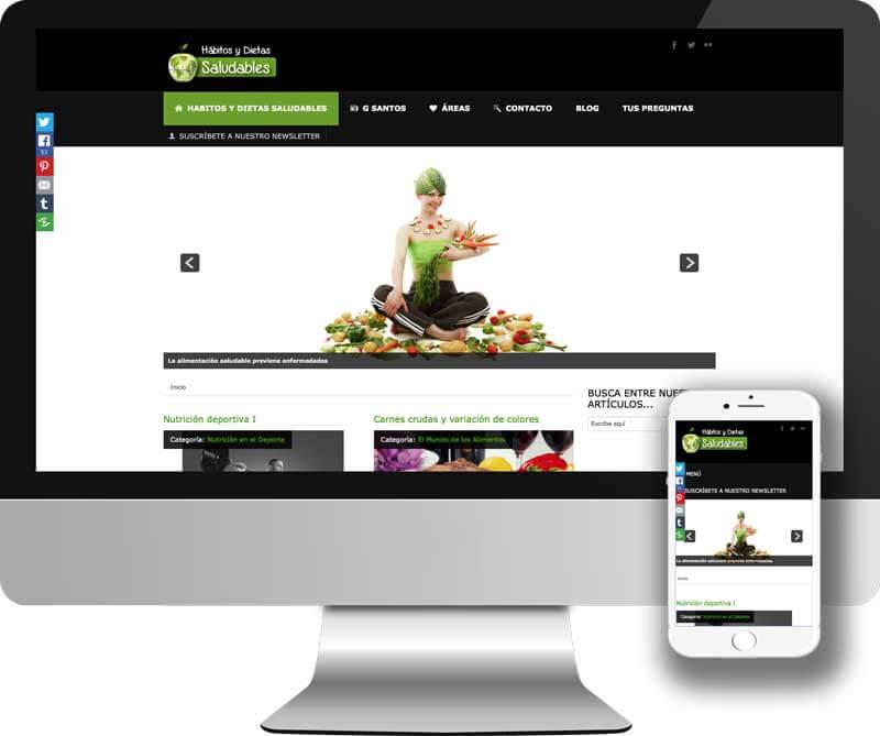 Web desarrollada en Joomla paraHabitos y Dietas saludables