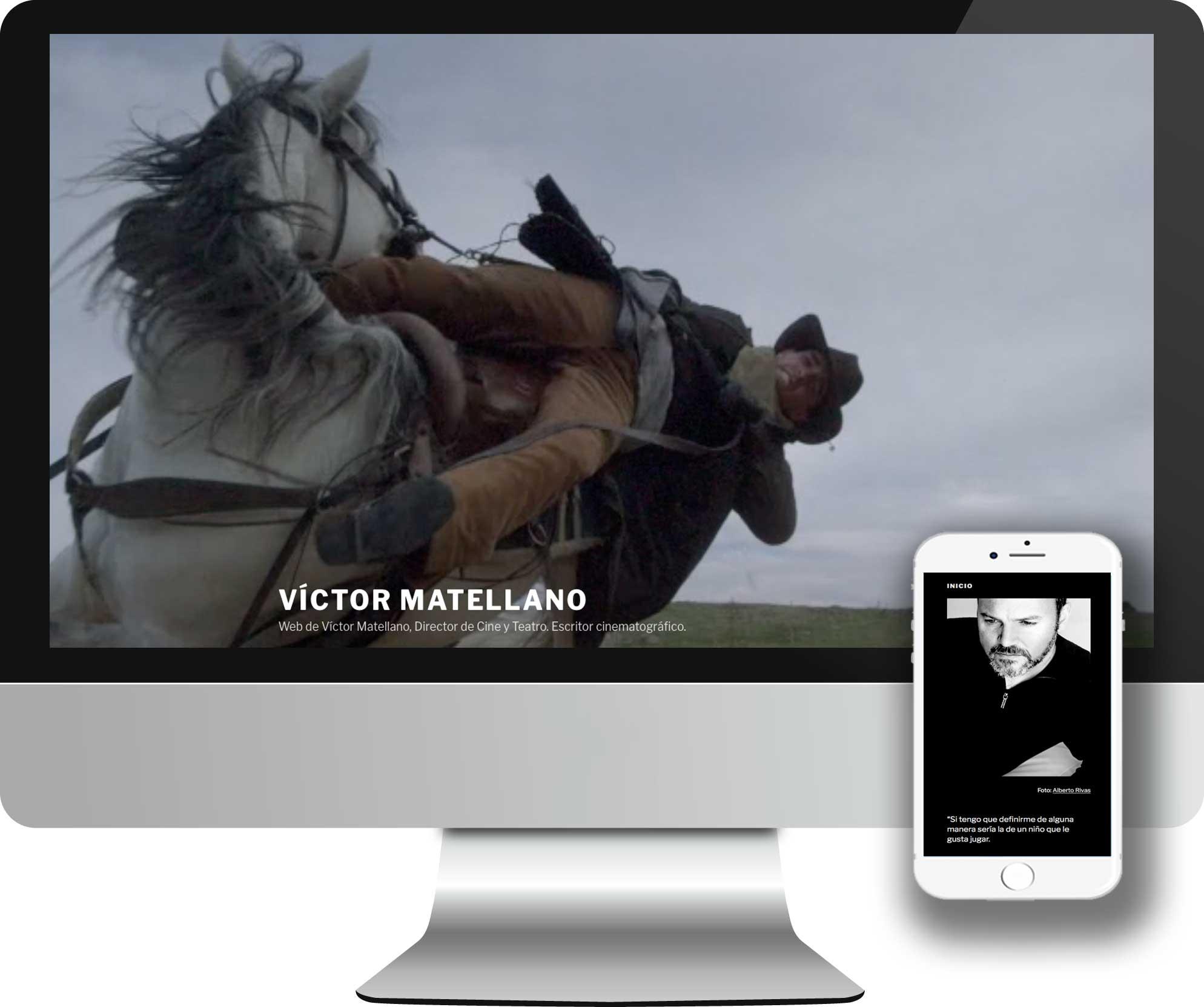 Desarrollo en WordPress para el desarrollo de la Web oficial de Víctor Matellano. Director de Cine y Teatro, y escritor cinematográfico.